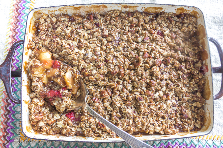This easy to prepare fall dessert is bursting with harvest flavors: fruit is blanketed with a crisp cinnamon, pecan and oat layer. Vegan, gluten-free and irresistible!