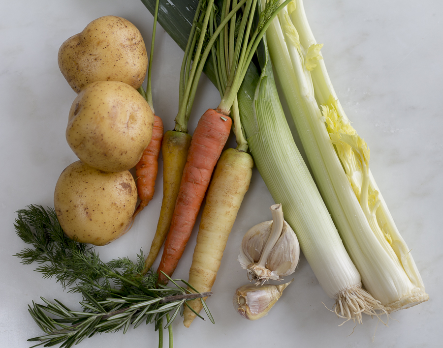 Ingredients for the soup, I chose Yukon Gold Potatoes