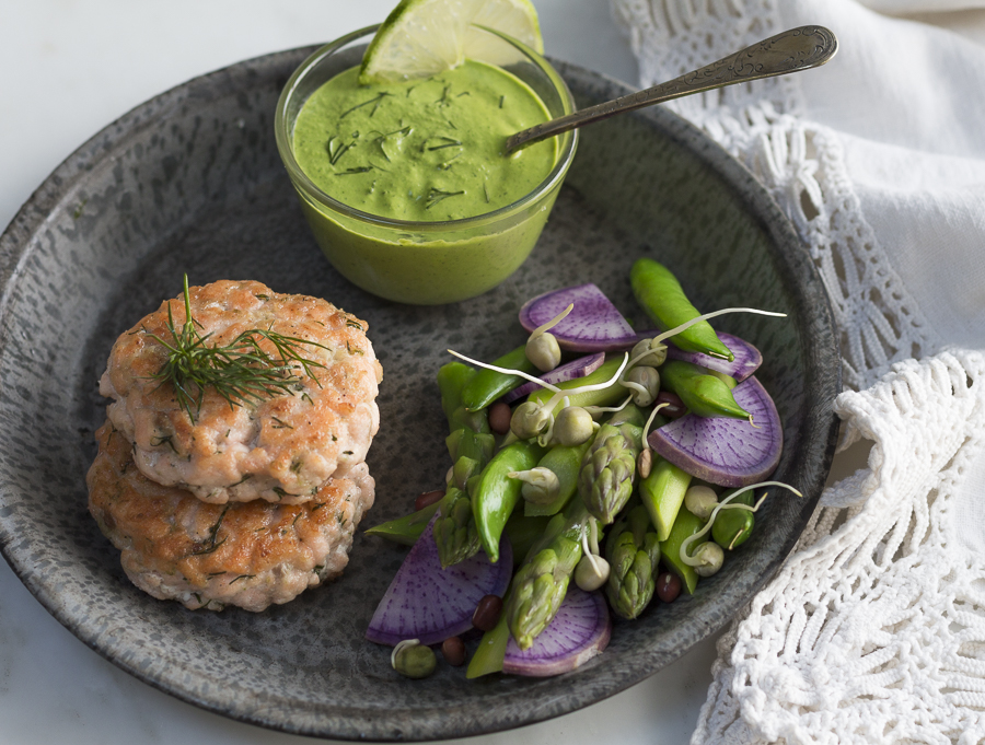 Wasabi, Lime and Dill flavor these simple Salmon Cakes. Without breadcrumbs- and they hold together beautifully. A perfect light dinner or healthy lunch. Gluten-free. Serve with my Green Goddess Dressing and Spring Vegetables.
