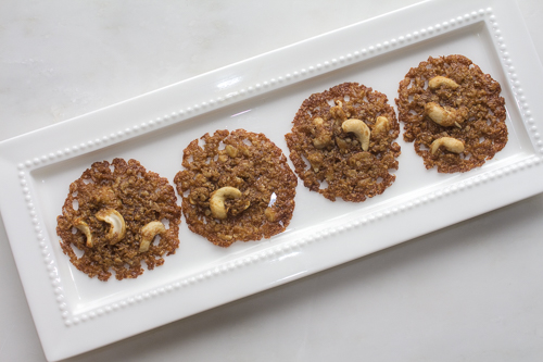 Made with natural ingredients with a healthier profile. The dough is simply made on the stove top, dropped and baked. Lacy- Crispy goodness.
