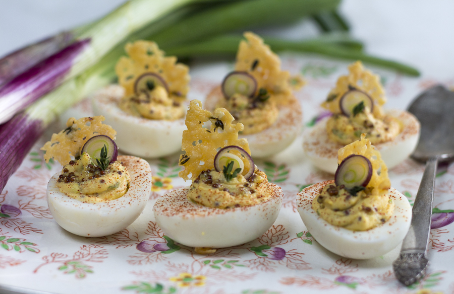 My Favorite Deviled Eggs: Grainy Mustard, Purple Scallions, Thyme and a Crisp and Lacy Baked Cheese Frico Makes Them Pungent and Zesty
