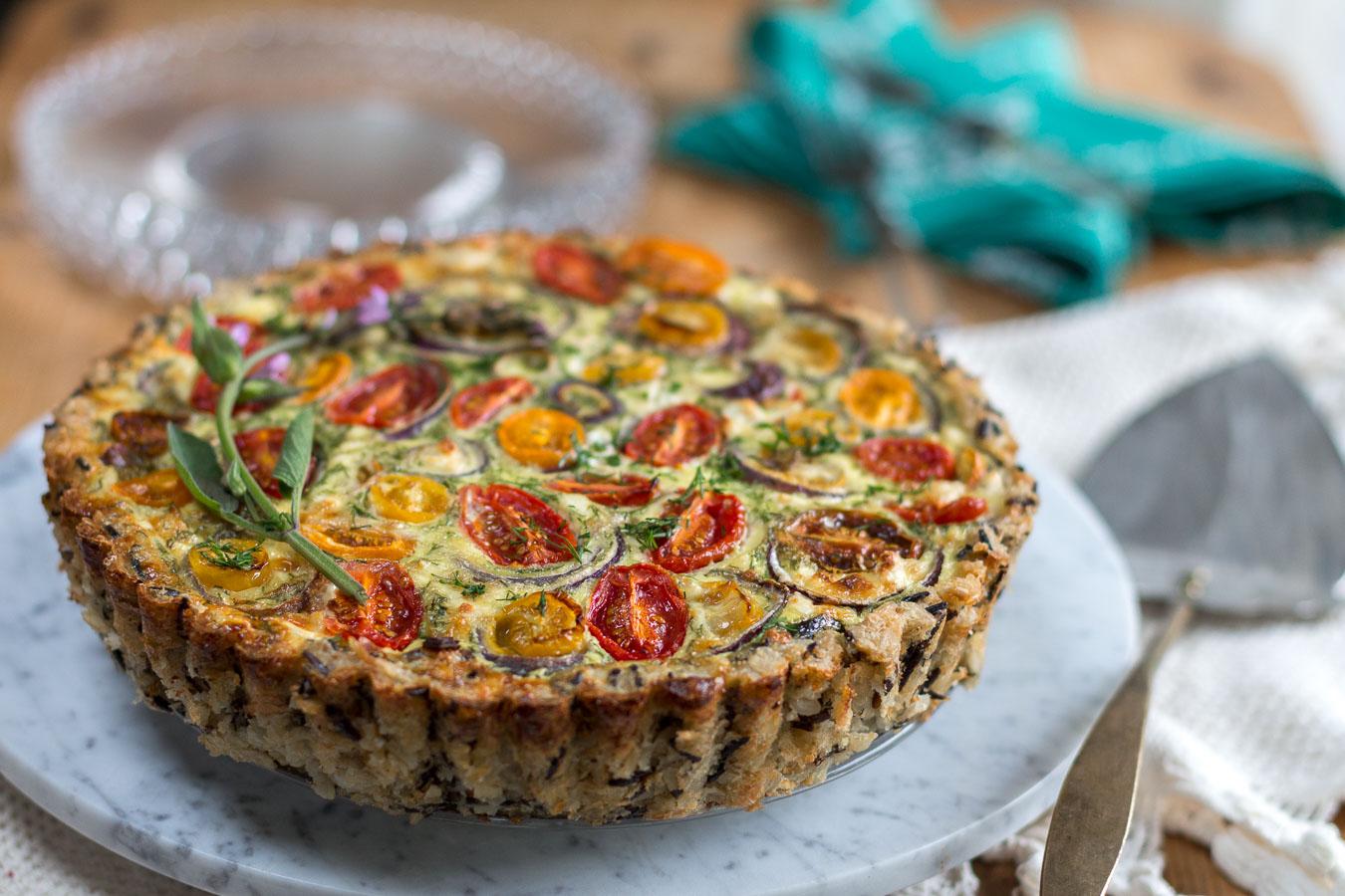 Spinach, Feta and Tomato Quiche with Wild & Brown Rice