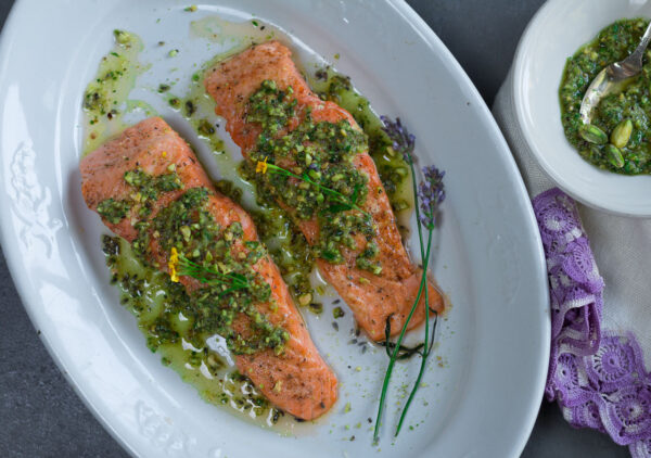 Cedar Planked Salmon with an easy-to prepare Planked Salmon with Pistachio-Tarragon & Lavender Gremolata Pistachio Planked Salmon with Pistachio-Tarragon & Lavender Gremolata smothered on top