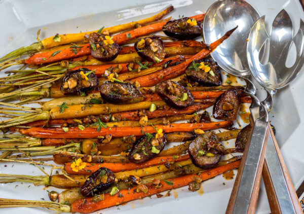 Carrots caramelize with the figs with a delectable just-sweet-enough glaze… all roasted in one pan