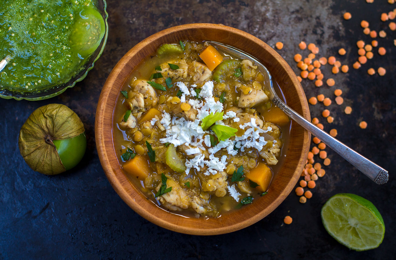 White Chicken Chili makes a delicious meal full of mildly-spicy Chili Flavor, Red Lentils, Butternut Squash and Chicken.