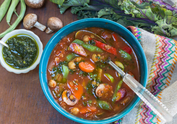 A wonderful, hearty and healthy Vegetable Soup with Mediterranean ingredients.