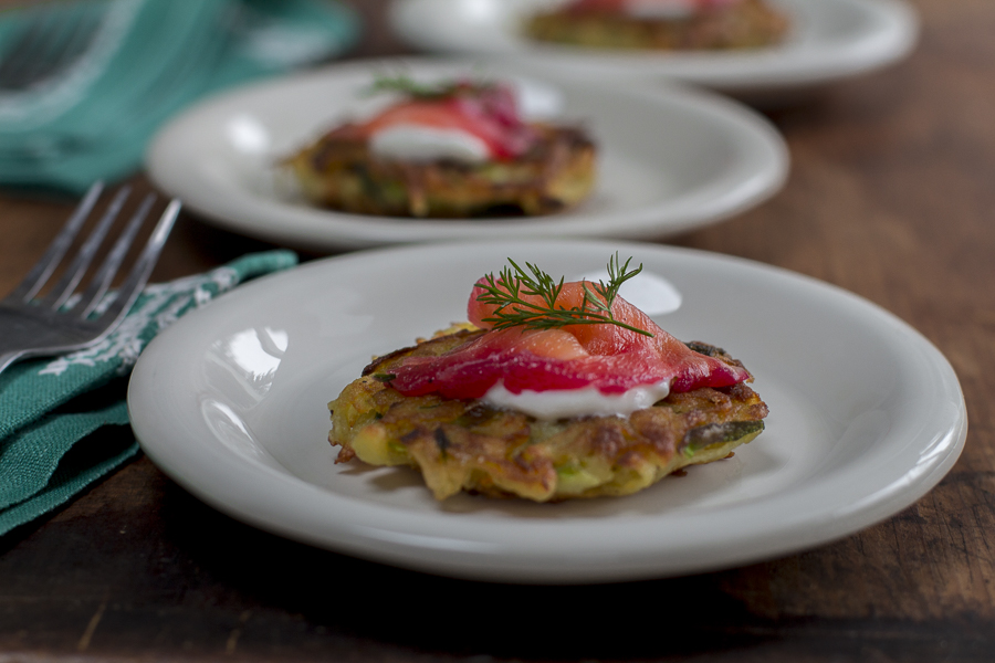 Karen's Beet Cured Gravlax on a Latke for the holidays and beyond!
