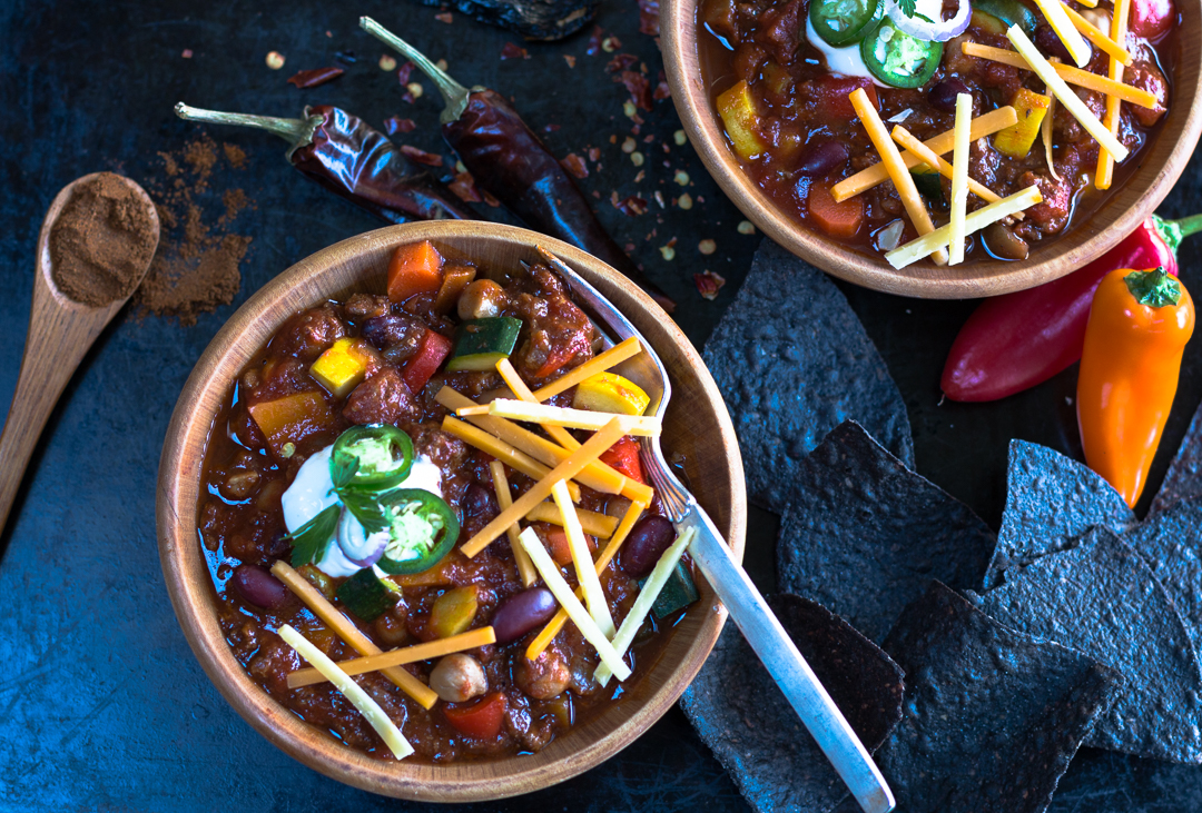 A hearty bowl of Chili with extra vegetables, plenty of chipotles and homemade Chili Powder for the ultimate flavor.