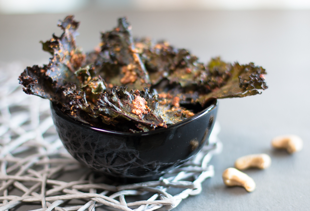 Homemade Kale Chips with miso and cashews are crunchy with an addictive flavor
