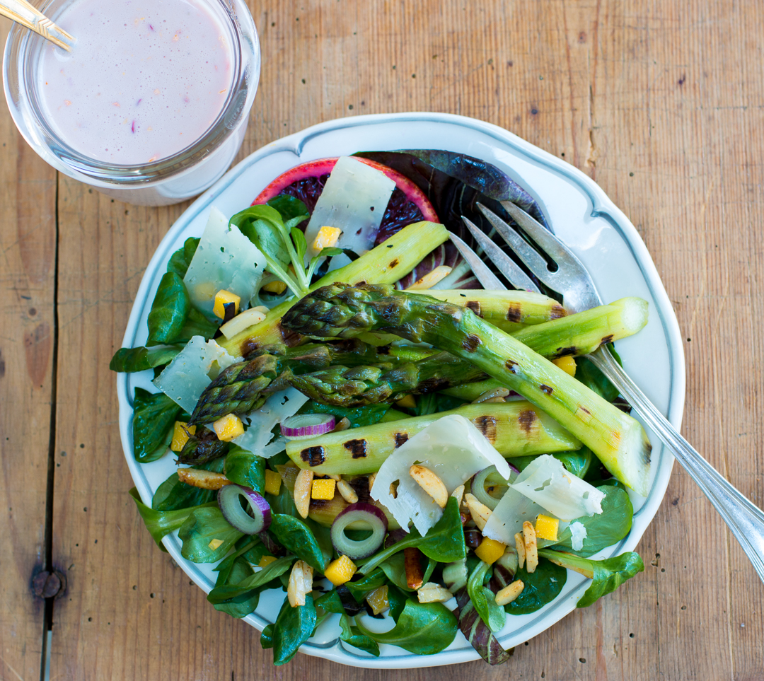 The perfect Restaurant Quality Spring Salad - choose fat asparagus and cook indoors in a grill pan – or outdoors in warmer weather