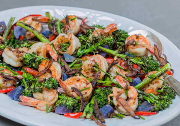 A skillet dish: Shrimp with Charred Brocollini and Shiitake