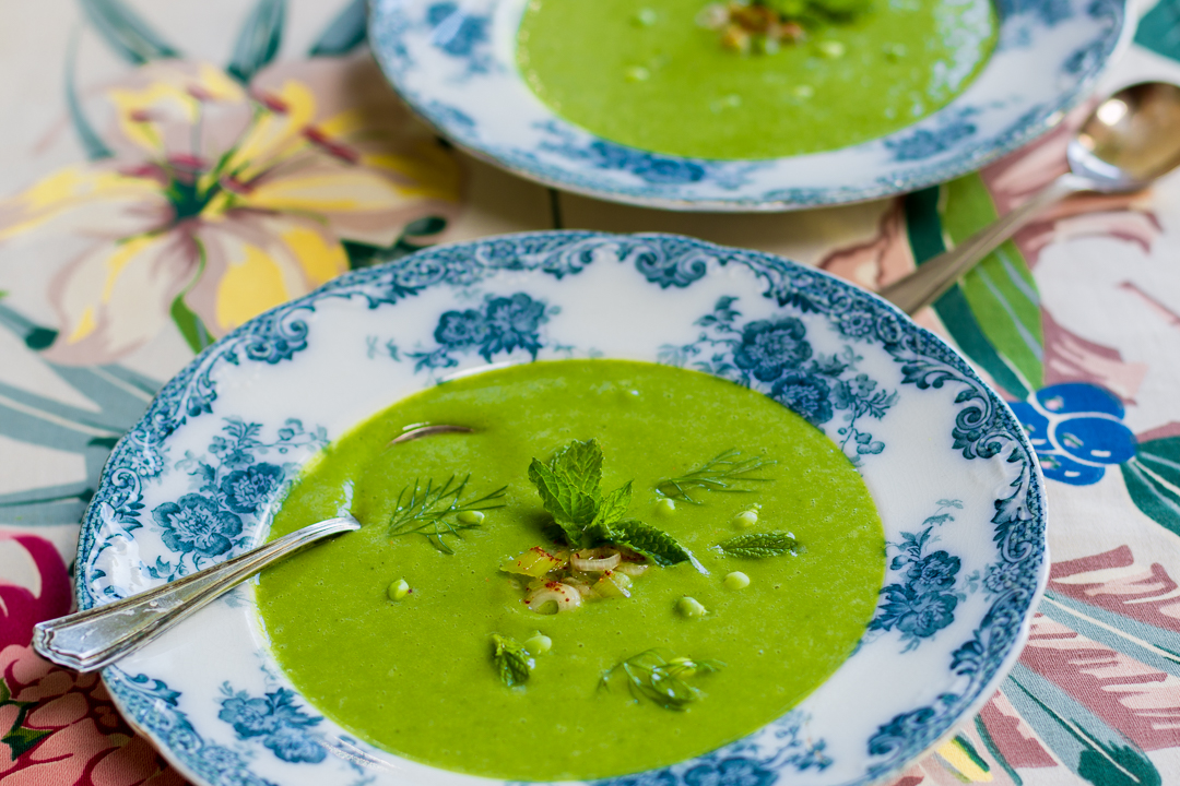 Spring Minty Pea Soup with Scallion Kimchee in vintage blue & white bowl