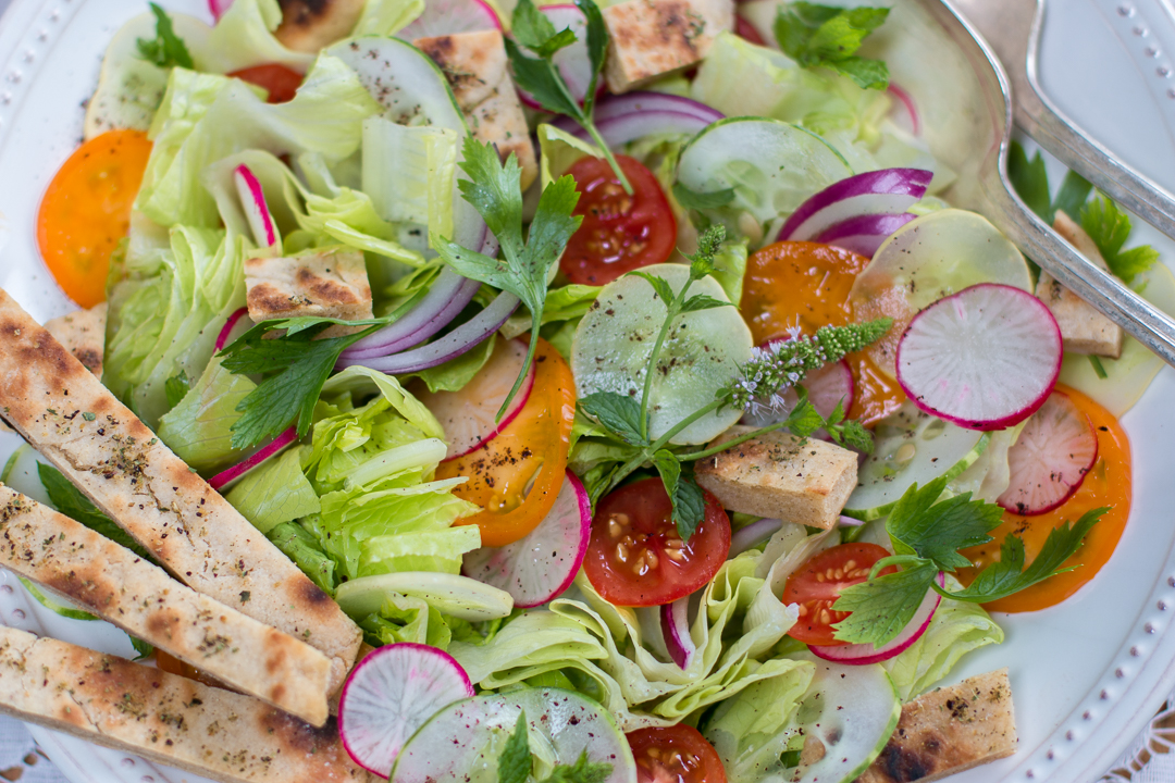 Fabulous Fattoush ~ A Middle Eastern Salad with Vegetables and Toasted Bread