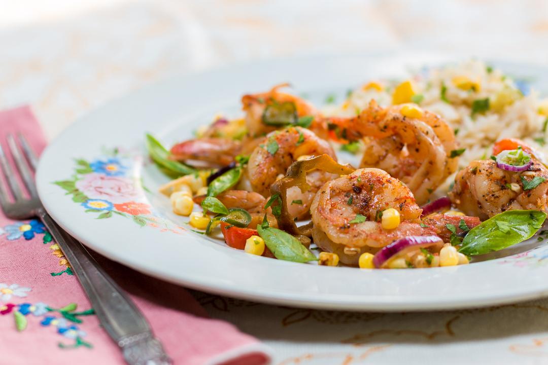 Shrimp & Farmers' Market Vegetable Sauté