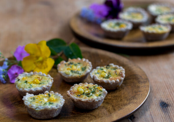 Bite Sized Corn Quiche with Blue Cornmeal Crust