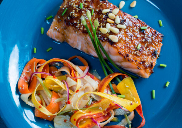 Glazed Hoisin Salmon with Pine Nuts