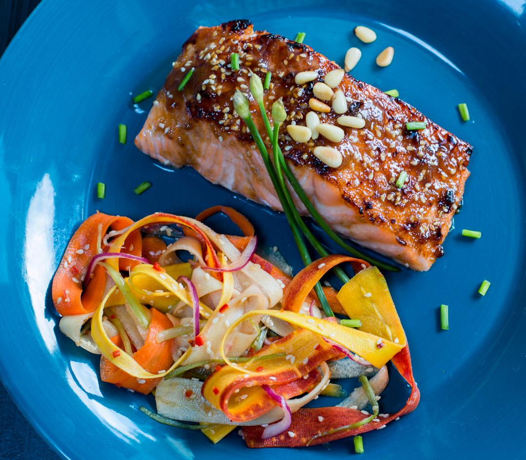 Glazed Hoisin Salmon with Pine Nuts