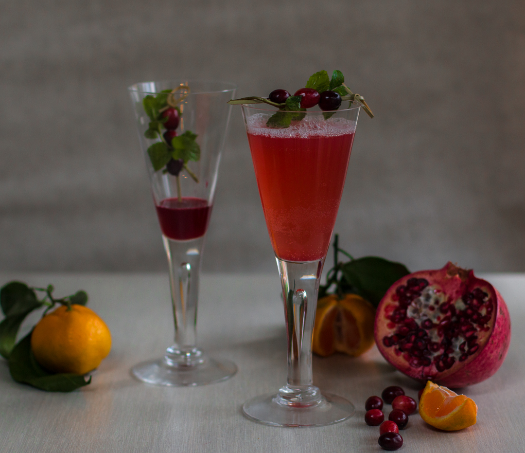 Prosecco Cocktail with Spiked Cranberry Syrup