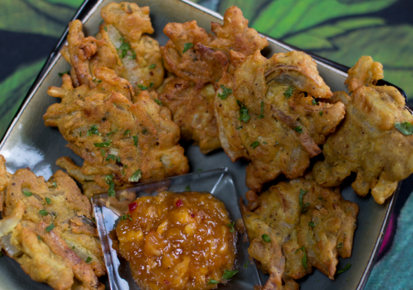Crispy Onion Bhajis with Grated Mango Chutney