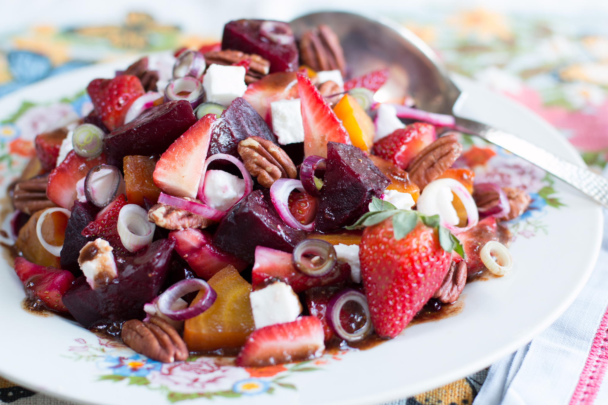 Strawberry and Beet Salad with Strawberry-Honey Balsamic Vinaigrette
