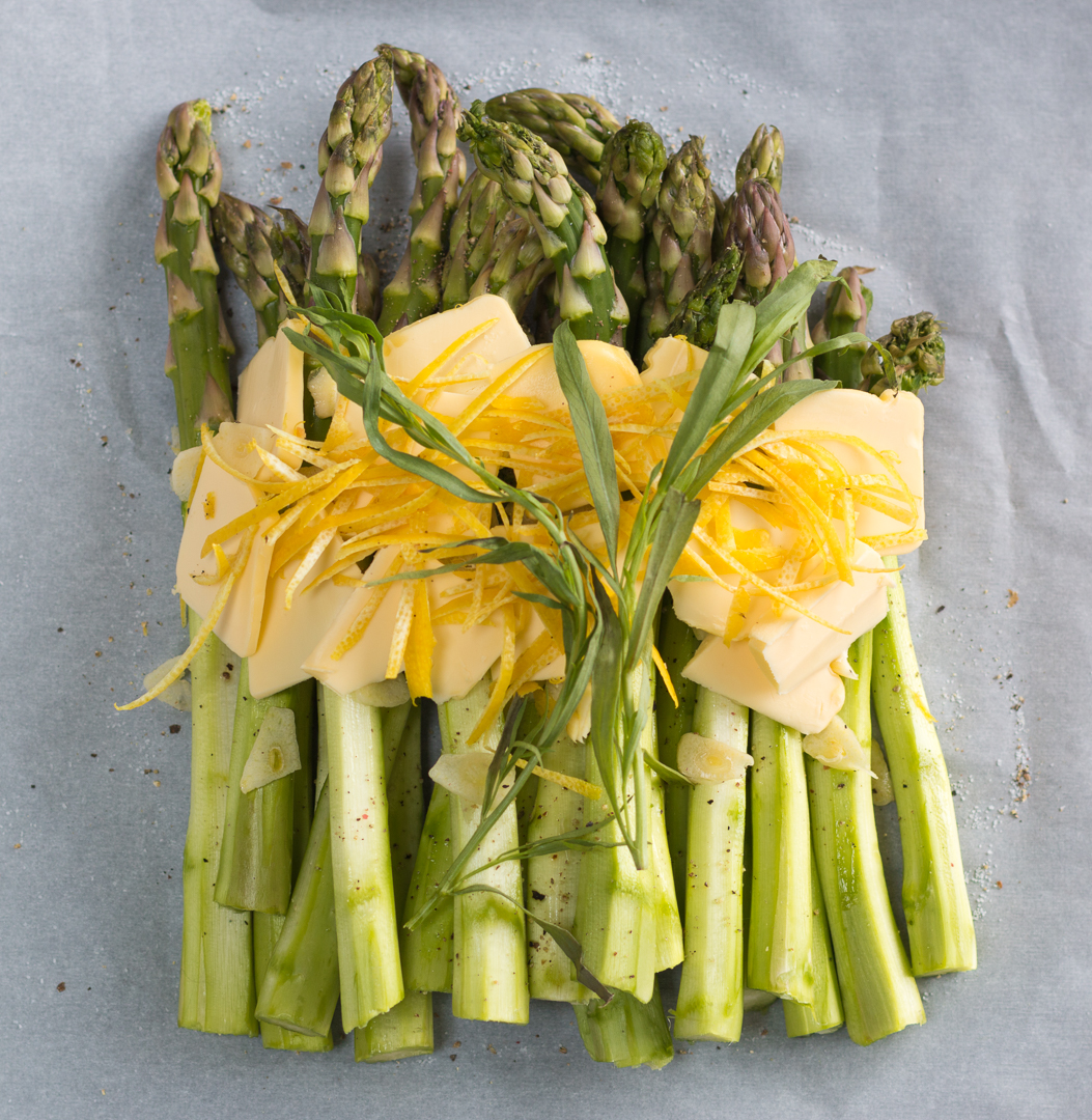 Spring Asparagus Spears are cooked in Parchment Paper with Lemon Rind, Garlic, Tarragon and Butter ~ an easy method with delicious results