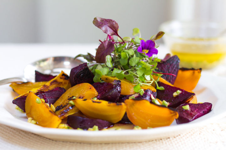 Simply Delicious ~ Wood Fired Infused Smoked Beets easily prepared on your grill. Finish the Salad with Petite Greens and a Zesty Avocado-Citrus Vinaigrette.