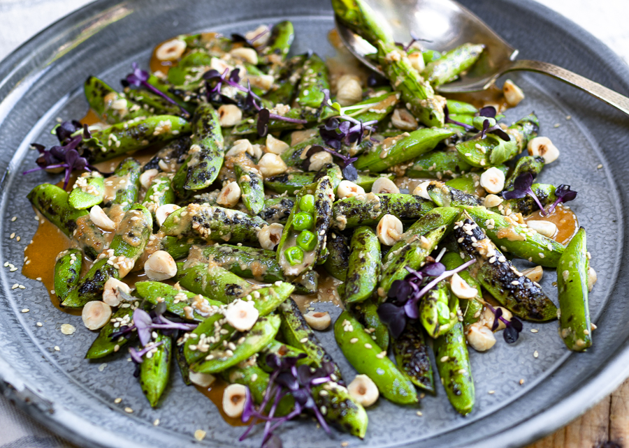Charred Sugar Snap Peas on the Grill with Hazelnut-Sesame Sauce