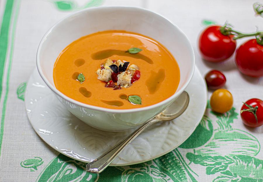 """Cold Tomato Bread Soup with Basil (Karen's take on """"Salmorejo"""")"""