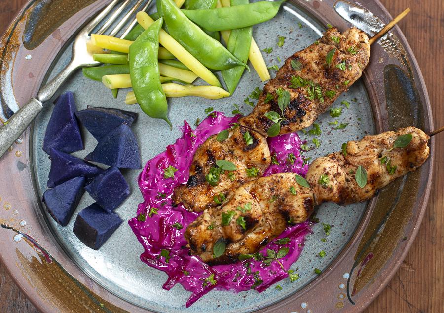 Beet Tzatziki Sauce with Spiced Chicken Skewers