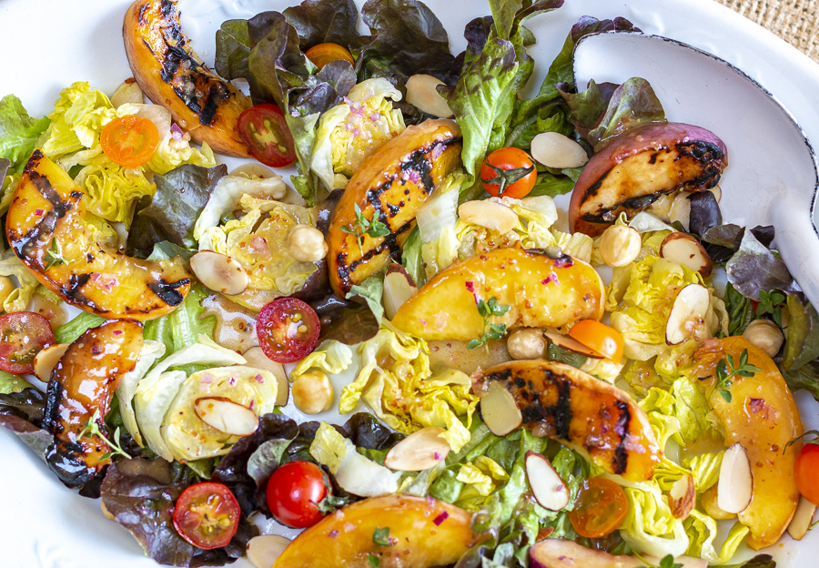 Grilled Peach Salad with Sweet & Sour Vinaigrette