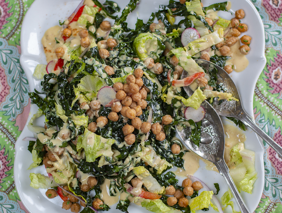 The Ultimate Kale, Romaine and Chickpea Salad with Roasted Garlic Tahini Dressing