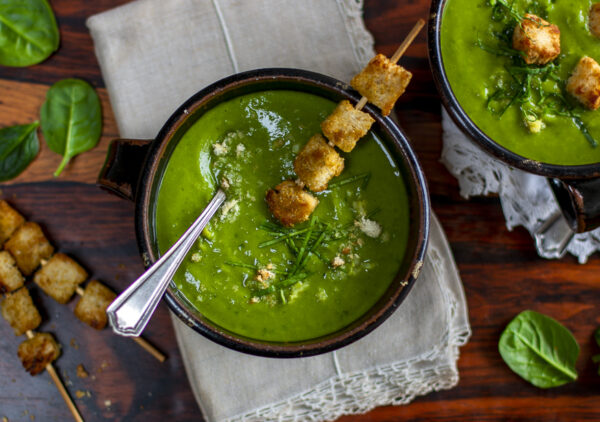 Spinach and Parsnip Soup with a Crispy Crouton Skewer