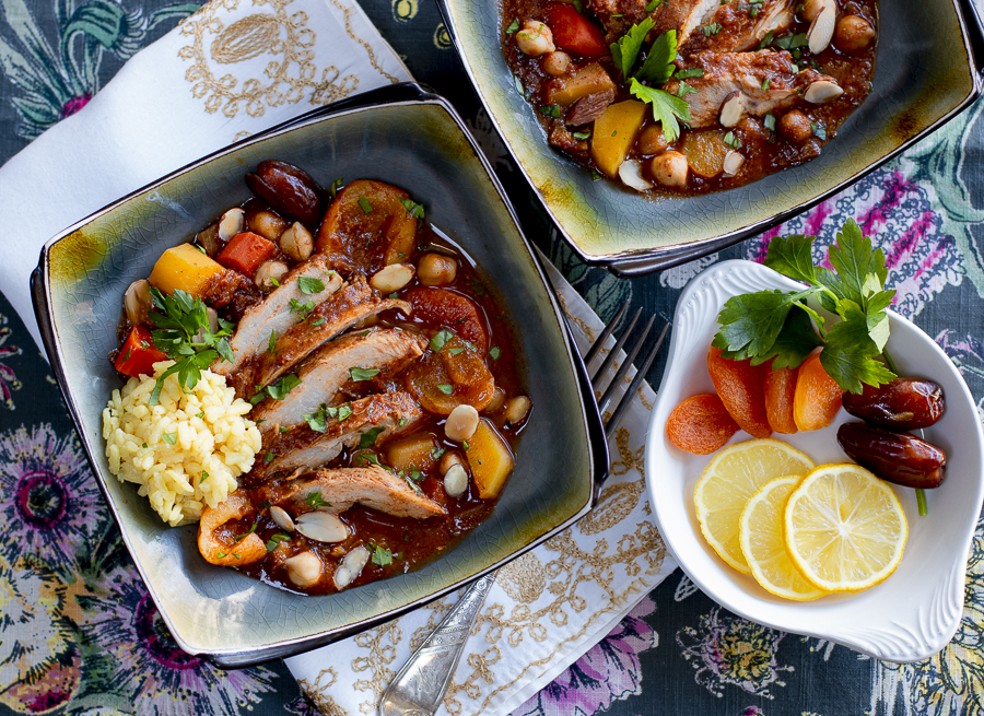 Tagine Chicken with Apricots, Dates and Chickpeas