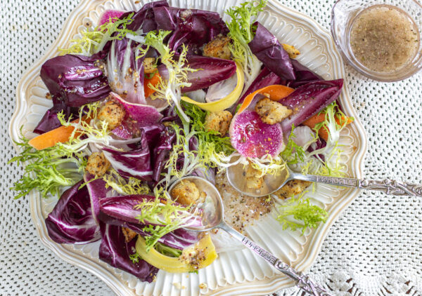 Radicchio Salad with Mustard Croutons and Grainy Mustard Vinaigrette