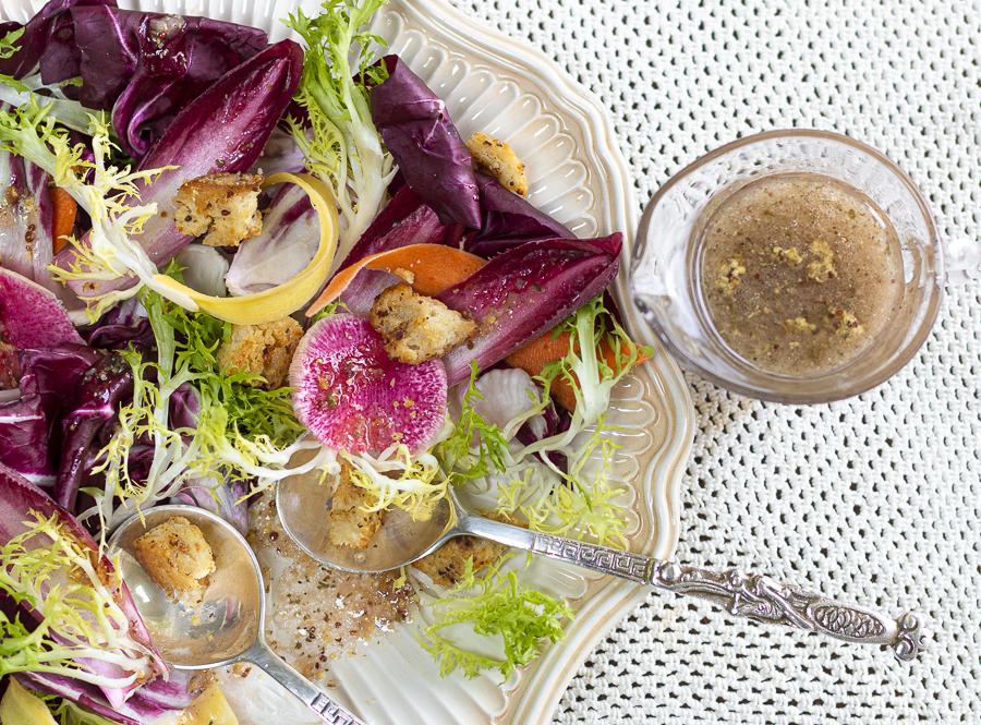 Karen's Grainy Mustard Vinaigrette with Shallots and Garlic