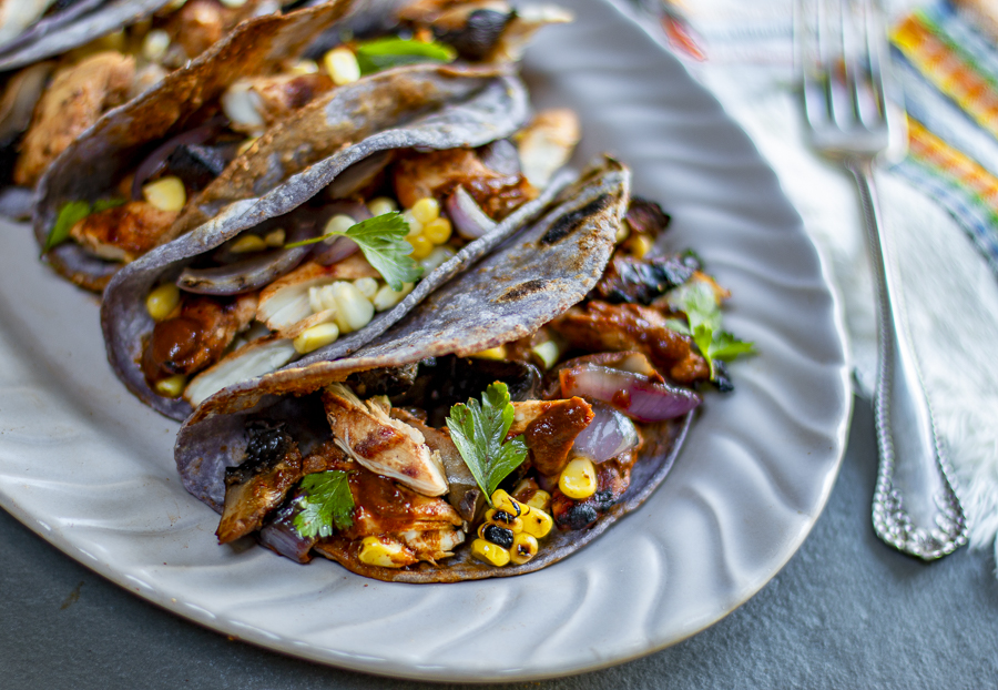 Chicken and Veggie Tacos with Mulato Chile Sauce
