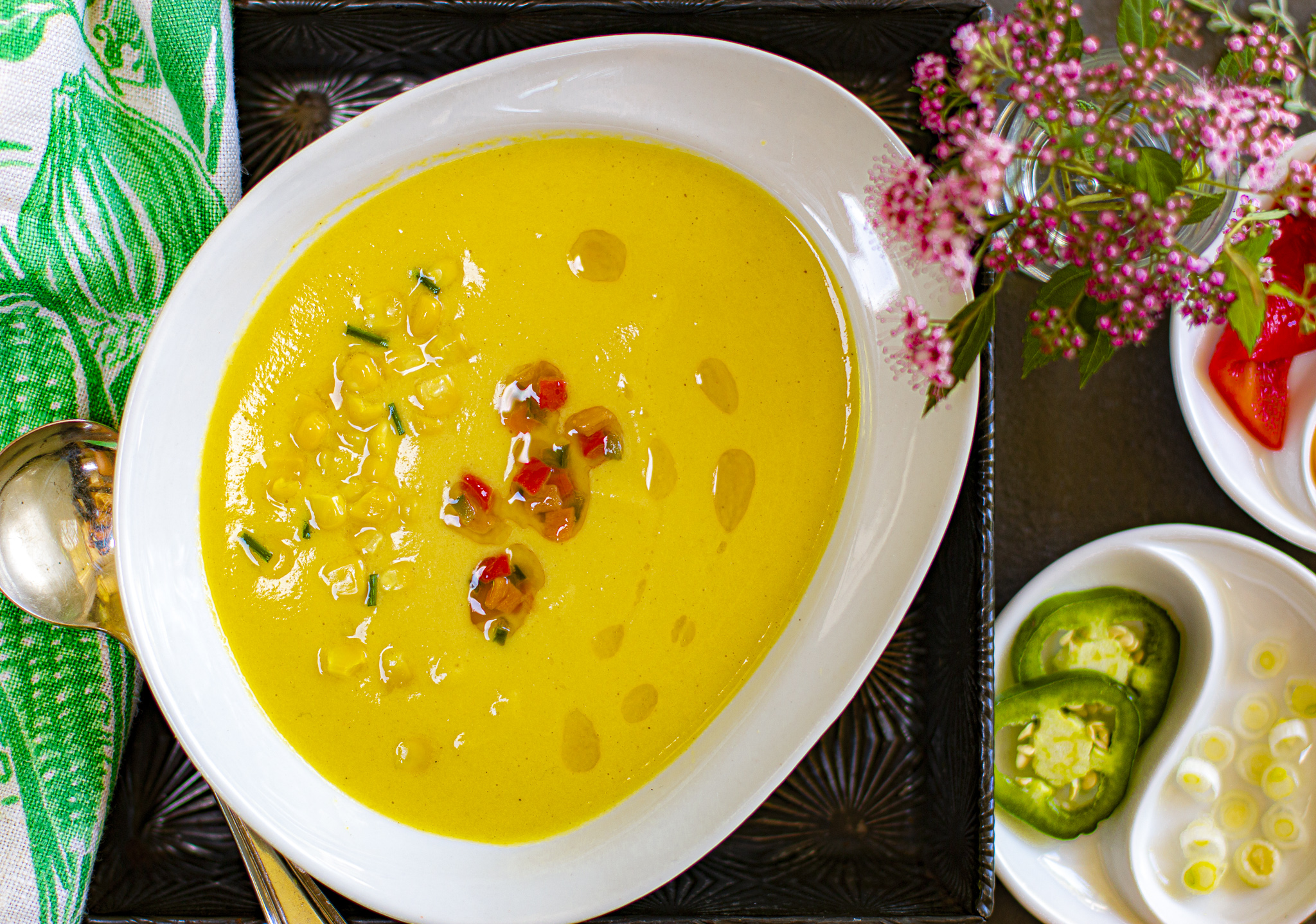 Velvety Cool Corn Soup with a Roasted Peppers & Jalapeño Garnish