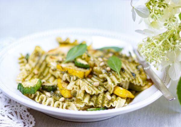 Thai Basil Pesto adorns Pasta Squares and Roasted Zucchini