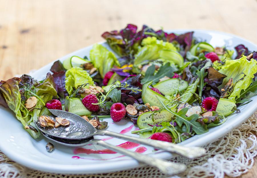 Raspberry Crunch Salad on a vintage platter