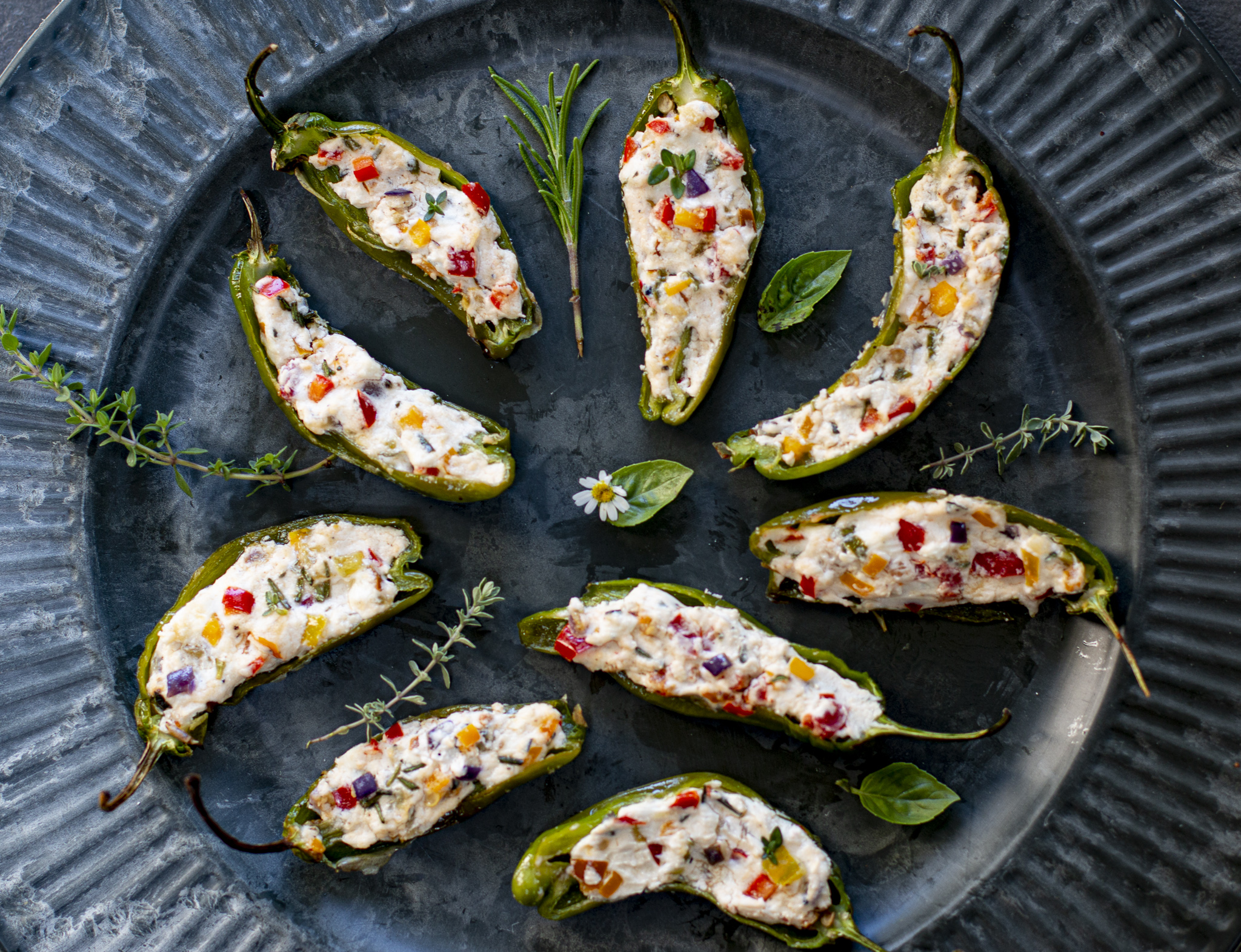 Mediterranean Stuffed Shishito Peppers