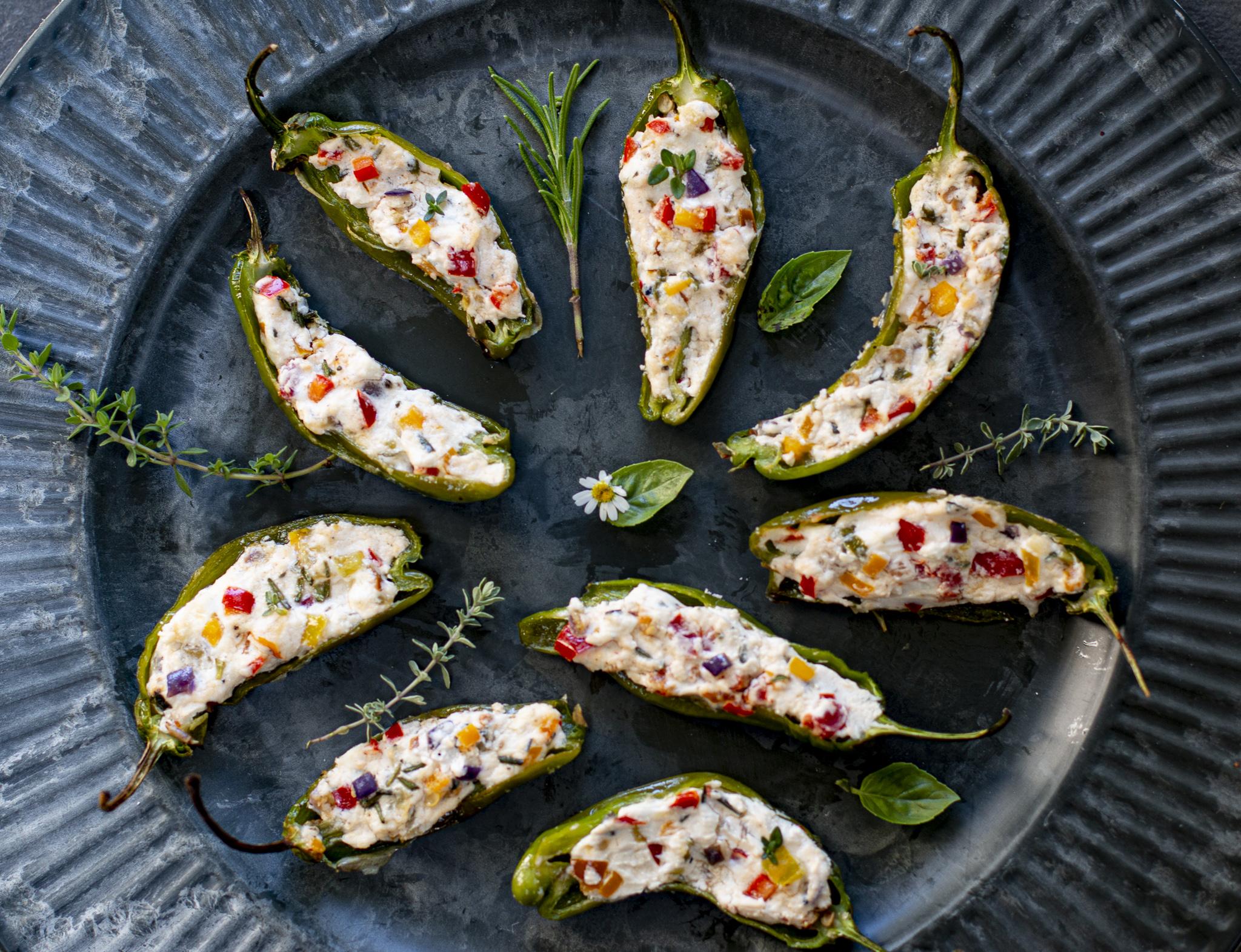 Mediterranean Stuffed Shishito Peppers