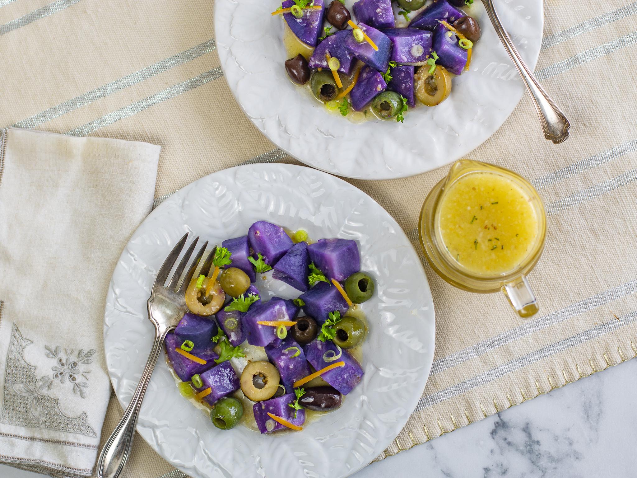 Purple Peruvian Potato salad with preserved lemon vinaigrette on vintage plates