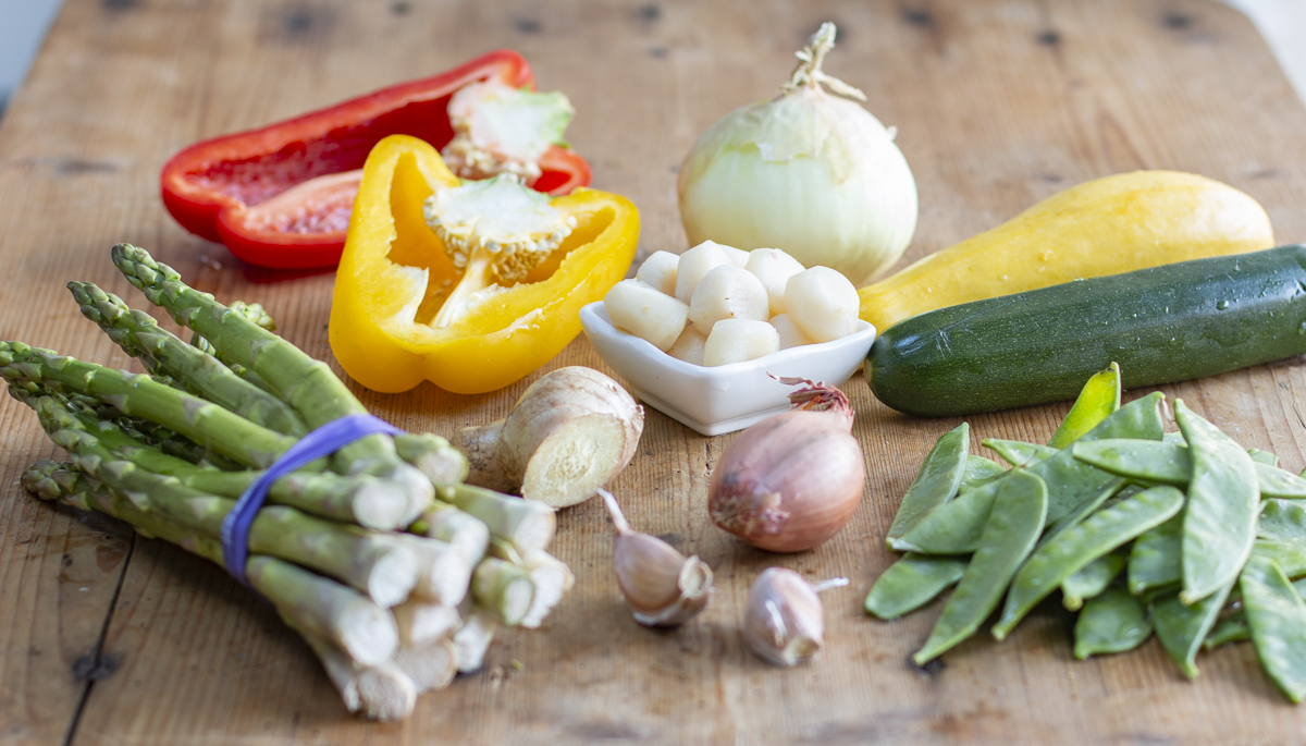 Vegetables for the Red Coconut Curry - on a wooden board