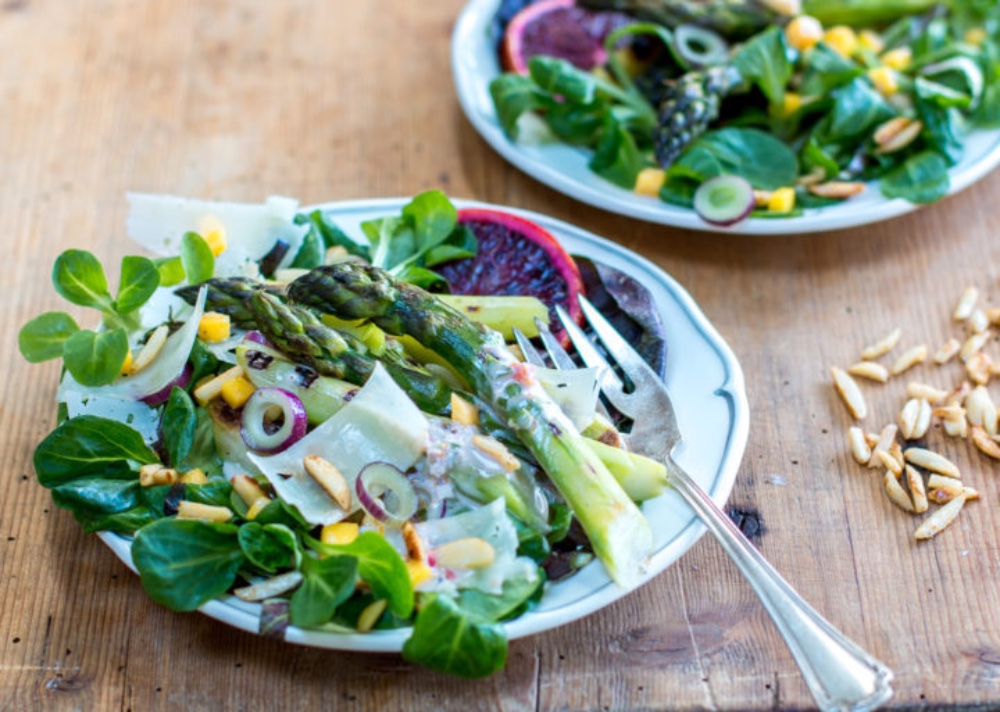 Spring Grilled Asparagus Salad ~ Blood Orange Buttermilk Dressing