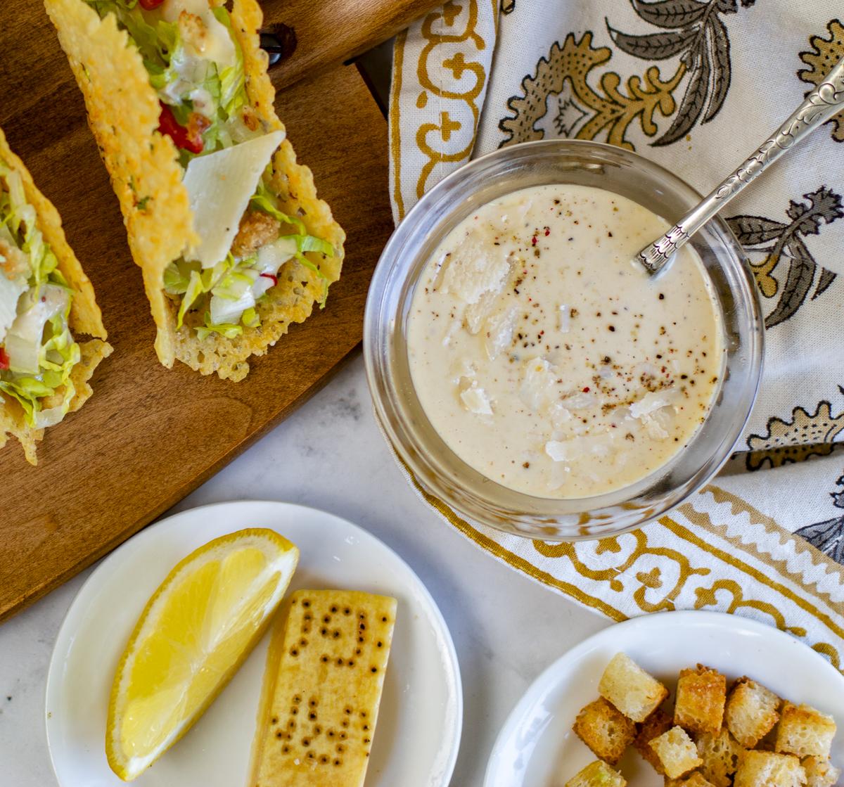 Quick Caesar Salad Dressing with Caesar Tacos and Garlic Breadcrumbs