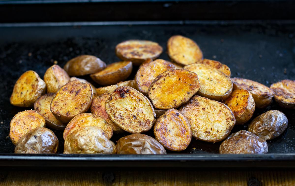 Simple Roasted Creamer Potatoes in black pan