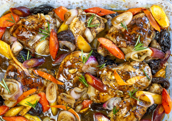 Chicken with Balsamic- Rosemary Sauce in baking pan