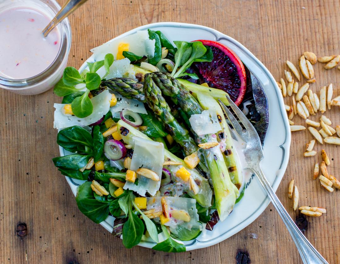 Spring Grilled Asparagus Salad ~ Blood Orange Buttermilk Dressing on a vintage white plate