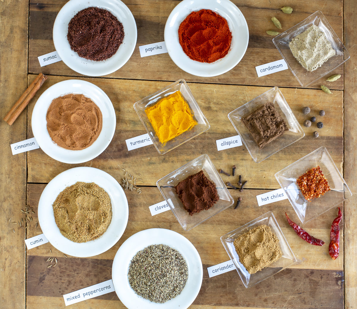 11 spices for Iraqi Spice Mix on a vintage board