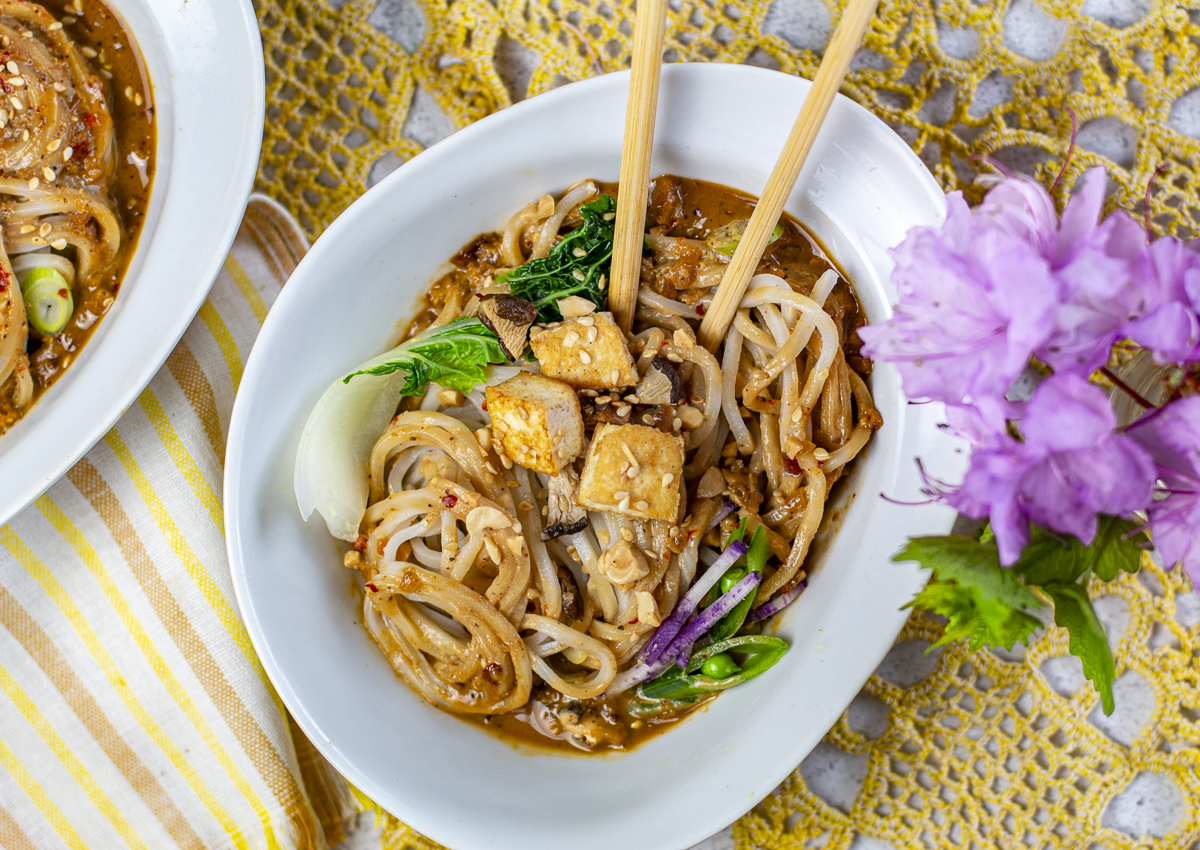 Fresh dan dan noodles are encased in a creamy, spicy and flavorful sauce.